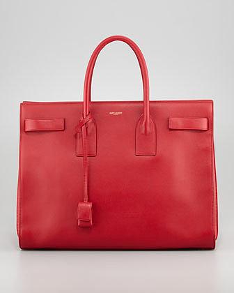 Saint Laurent Classic Sac De Jour Leather Tote Bag, Red
