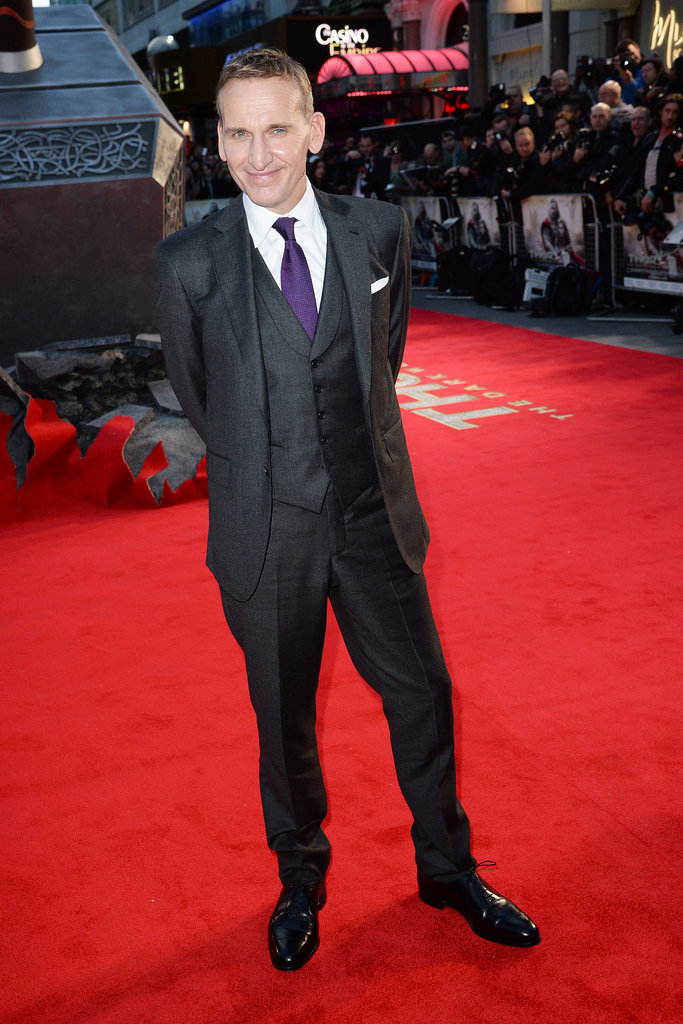 Christopher Eccleston looked dapper in a three-piece suit.