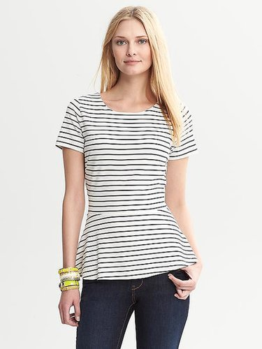 Striped Ponte Short-Sleeve Peplum Top