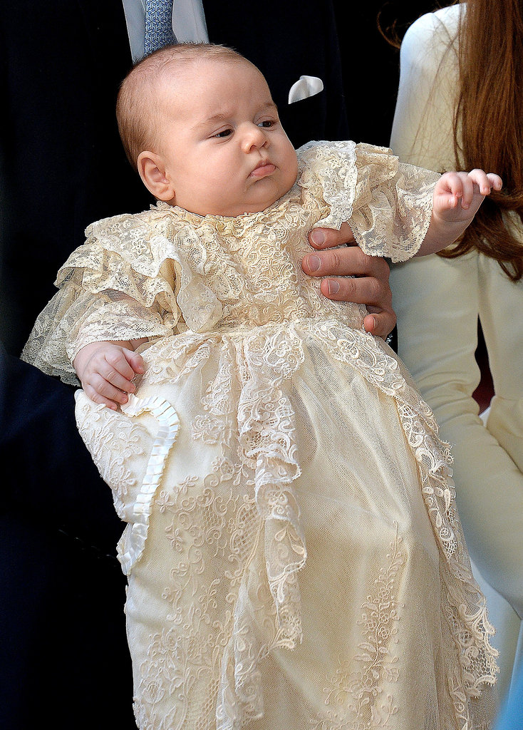 Prince George wore a replica of the Royal Christening Gown.
