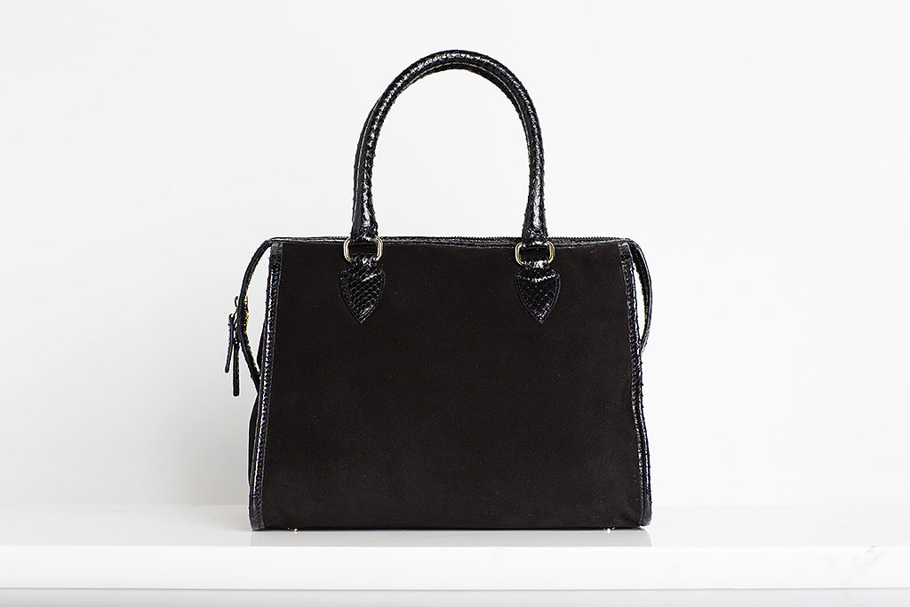 Seductive Suede Satchel With Watersnake Trim in Black ($895) Photo courtesy of Tamara Mellon