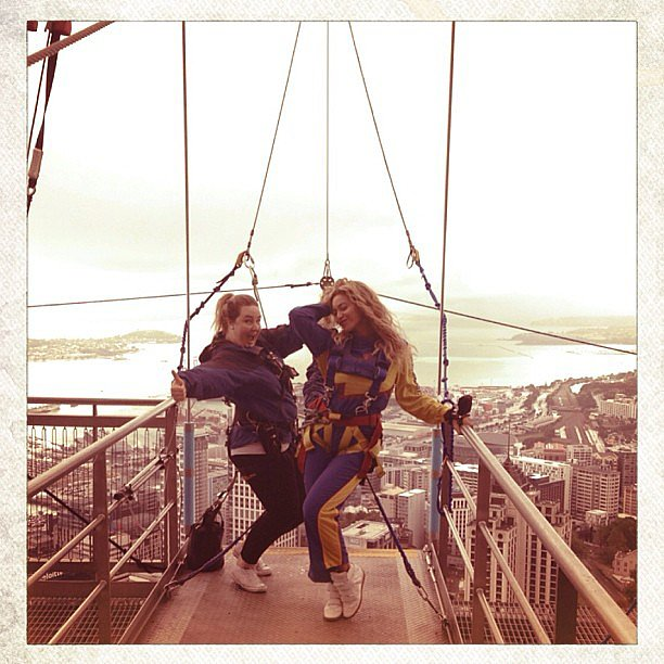 Beyoncé Knowles went bungee jumping off of the Auckland Sky Tower in New Zealand. Source: Instagram user beyonce