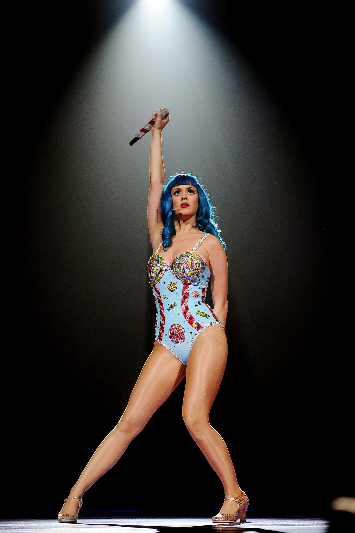 Katy showed off her toned legs in Sunrise, FL, while performing for her California Dreams tour in June 2011.