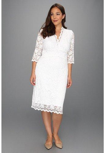 Kiyonna - Luxe Lace Wedding Dress (White) - Apparel