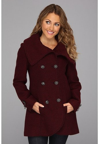 Jessica Simpson - Double-Breasted Wool Coat w/ Hardware (Burgundy) - Apparel
