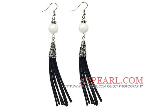Long Style Round Shape White Seashell Dangle Leather Tassel Earrings with Black Leather Tassel