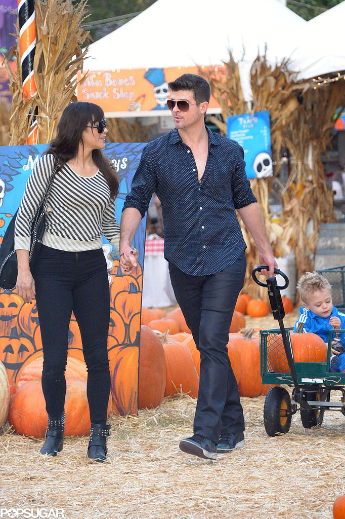 Robin Thicke and his wife, Paula Patton, brought their son, Julian, to the pumpkin patch in LA, wheeling him along in a wagon.