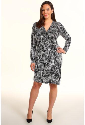 MICHAEL Michael Kors - Plus Size Mini Roxy L/S Wrap Dress (Black) - Apparel
