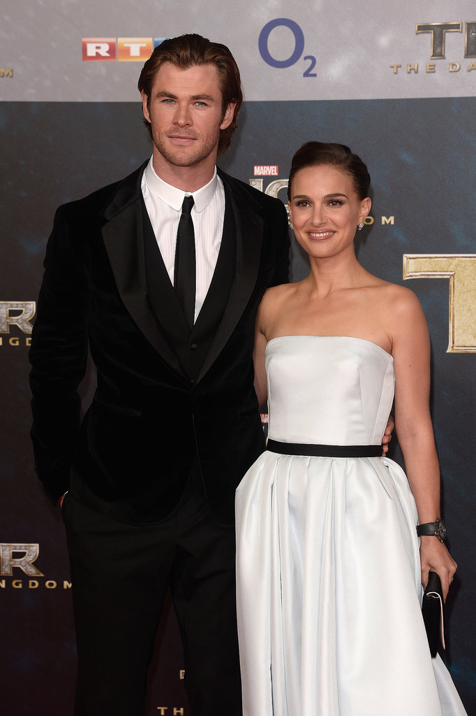 Costars Natalie Portman and Chris Hemsworth posed together on the red carpet.