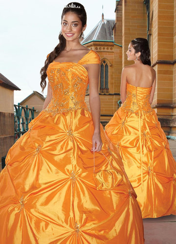 Ball Gown Off-the-shoulder Beading Satin Floor-length Quinceanera Dress at sweetquinceaneradress.com