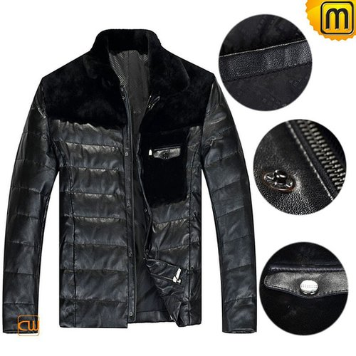 Mens Black Leather Down Fill Jacket CW848109