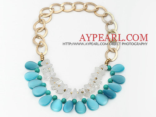 Irregular Shape Clear Crystal and Teardrop Shape Blue Cats Eye and Turquoise Necklace with Metal Loop Chain