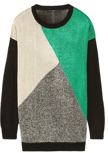 Tibi Intarsia metallic knitted sweater