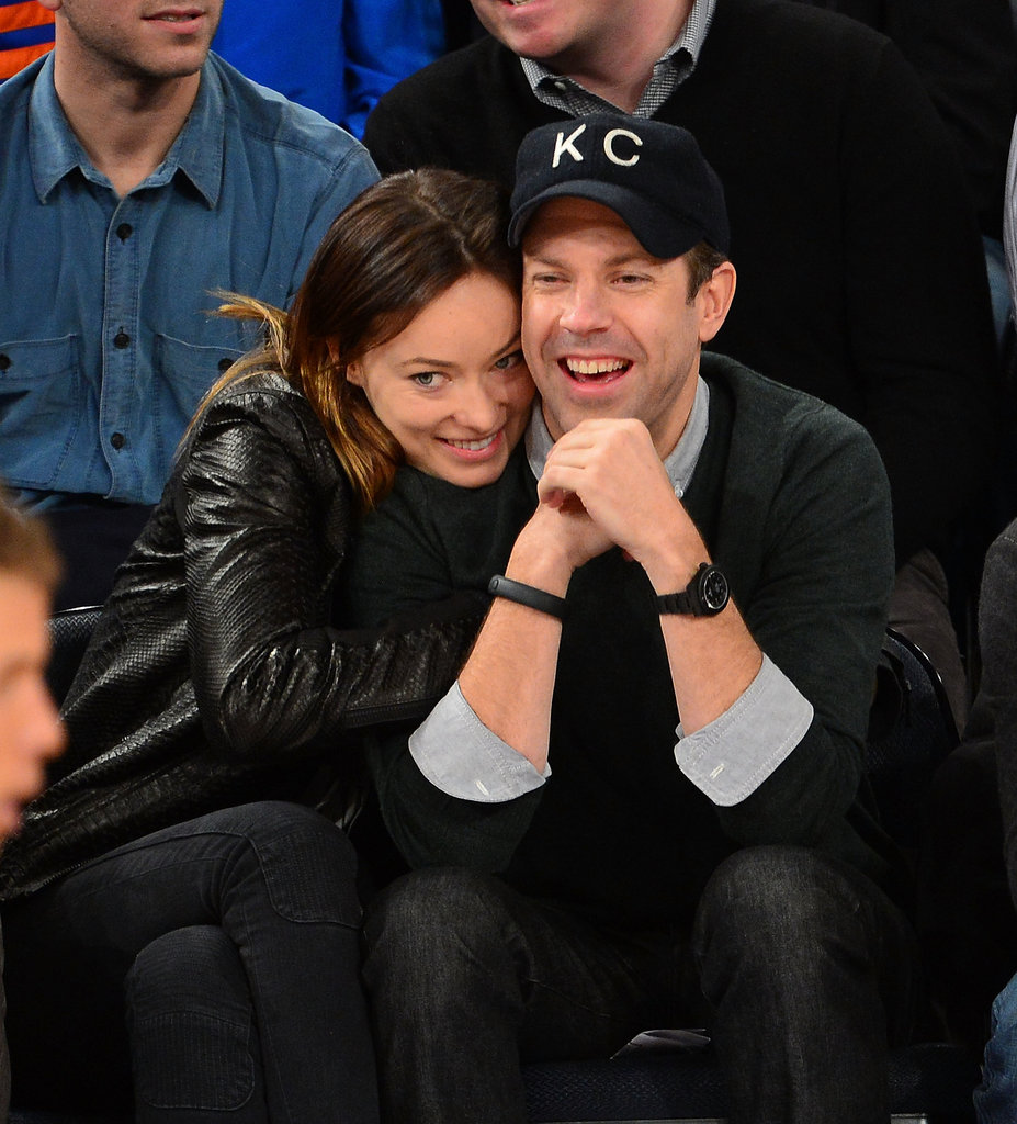 Olivia Wilde cozied up to her guy, Jason Sudeikis, during a NY Knicks game in February 2013.