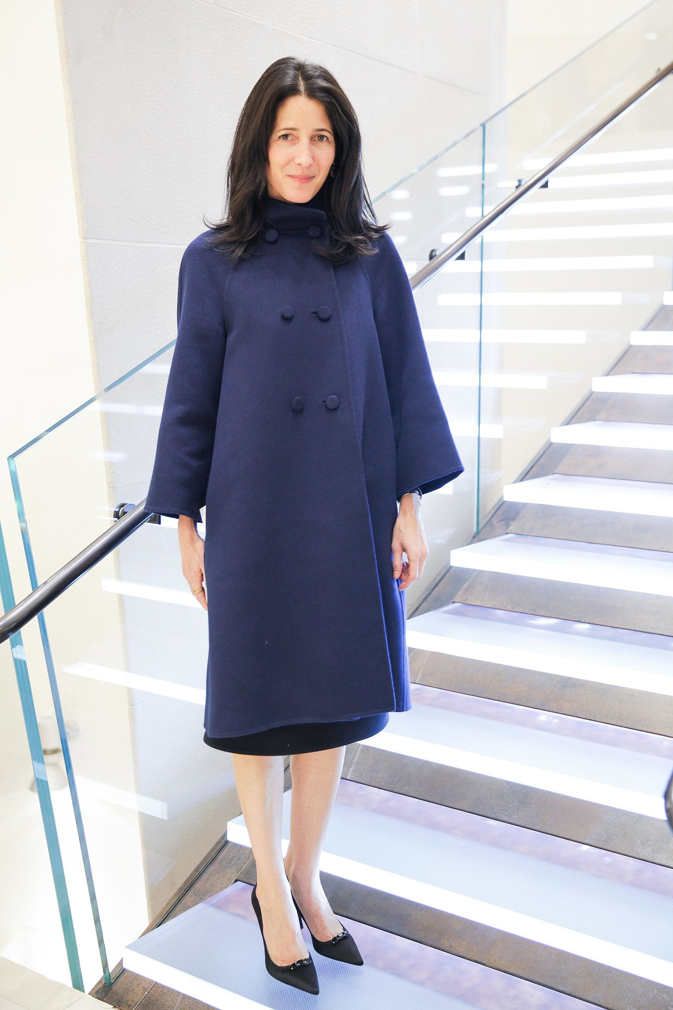 At The Harper's Bazaar Bulgari bash, Amanda Ross looked cozy and stylish in her blue coat.