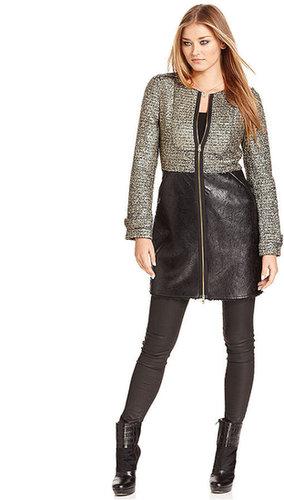 RACHEL Rachel Roy Coat, Boucle Faux-Leather Faux-Fur