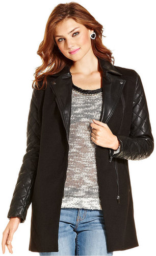 Jessica Simpson Coat, Taavi Mixed-Media Quilted Faux-Leather