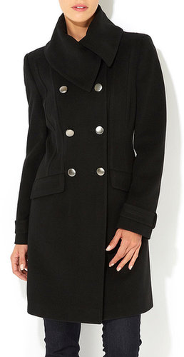 Black Folded Collar Coat