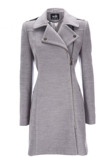 Grey Asymmetric Zip Coat