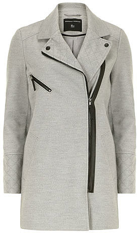 Grey quilt detail biker coat