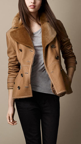 Short Shearling Trench Coat