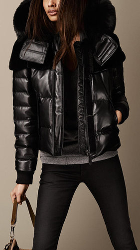 Fur Trim Nappa Leather Puffer Jacket