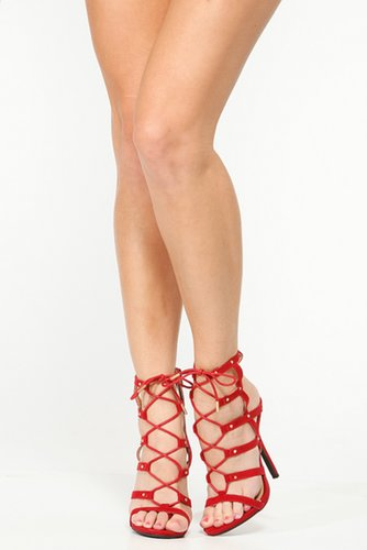 Wild Diva Wine Caged Lace Up Heels @ Cicihot Heel Shoes online store sales:Stiletto Heel Shoes,High Heel Pumps,Womens High Heel