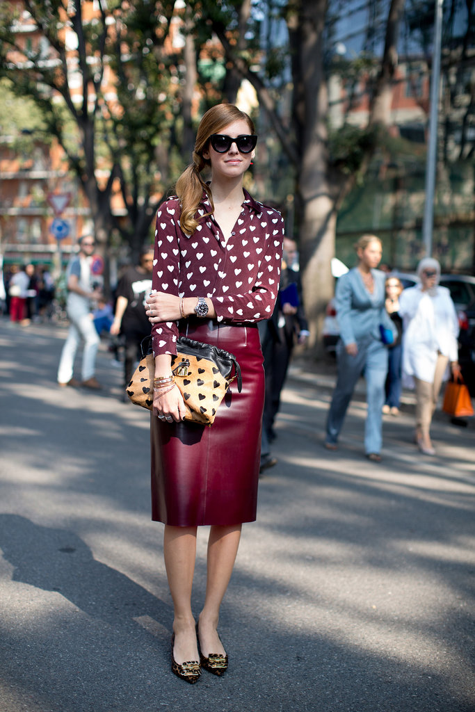 Sweeten up your work style à la Chiara Ferragni with a printed blouse.