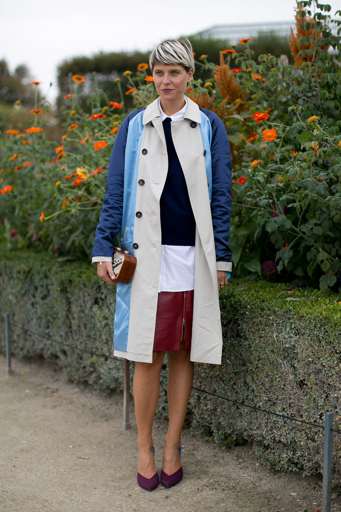 Easy layers and a colorblock trench made this pencil skirt style anything but typical.