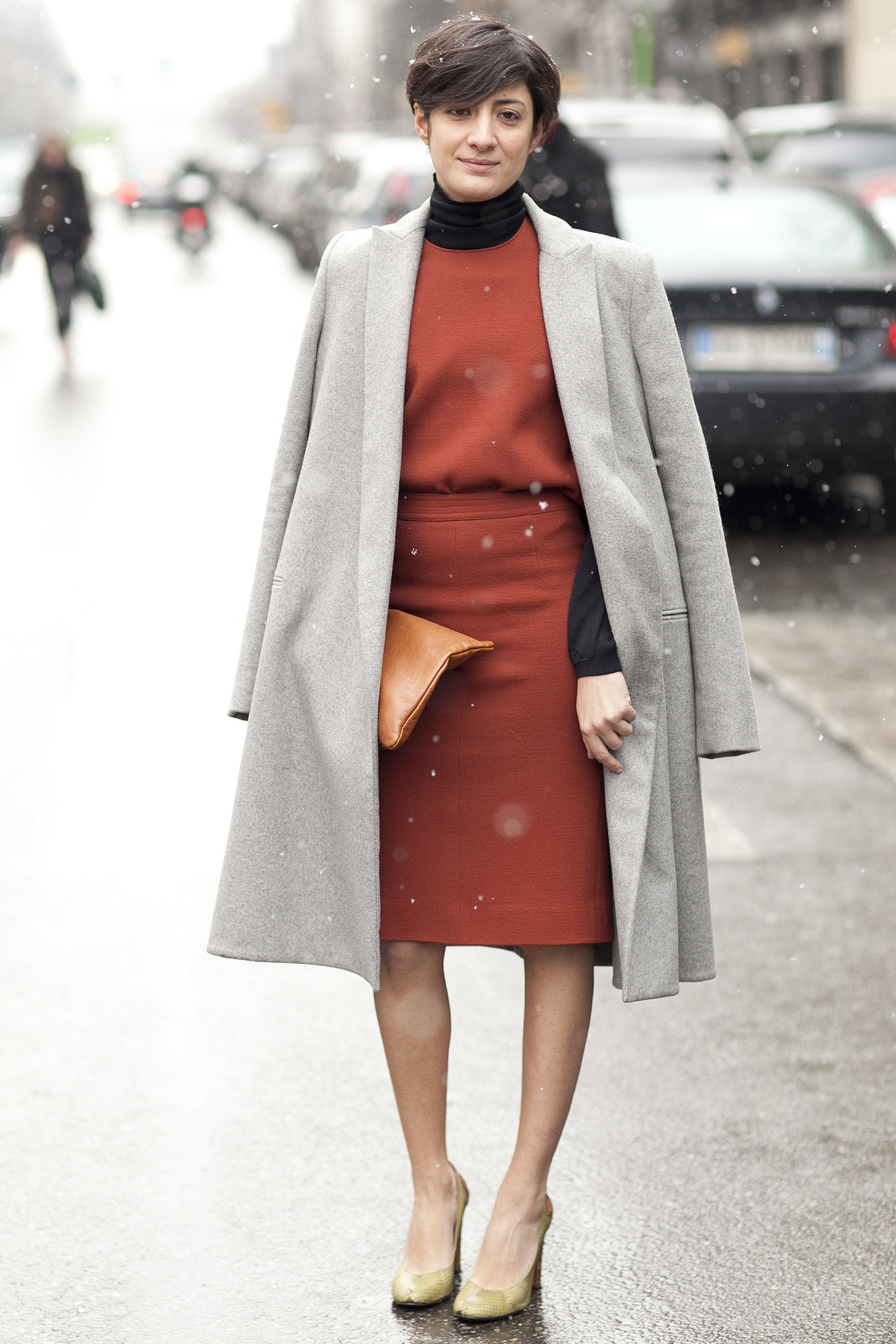 Perfect the minimalist vibe, then add warmth with a turtleneck underneath.