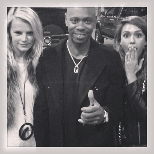 Jessica Alba and Kelly Sawyer were starstruck while meeting Dave Chappelle. Source: Instagram user jessicaalba