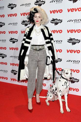 Iggy Azalea went all out for her Cruella de Vil costume at the 2013 VEVO Halloween showcase in London.