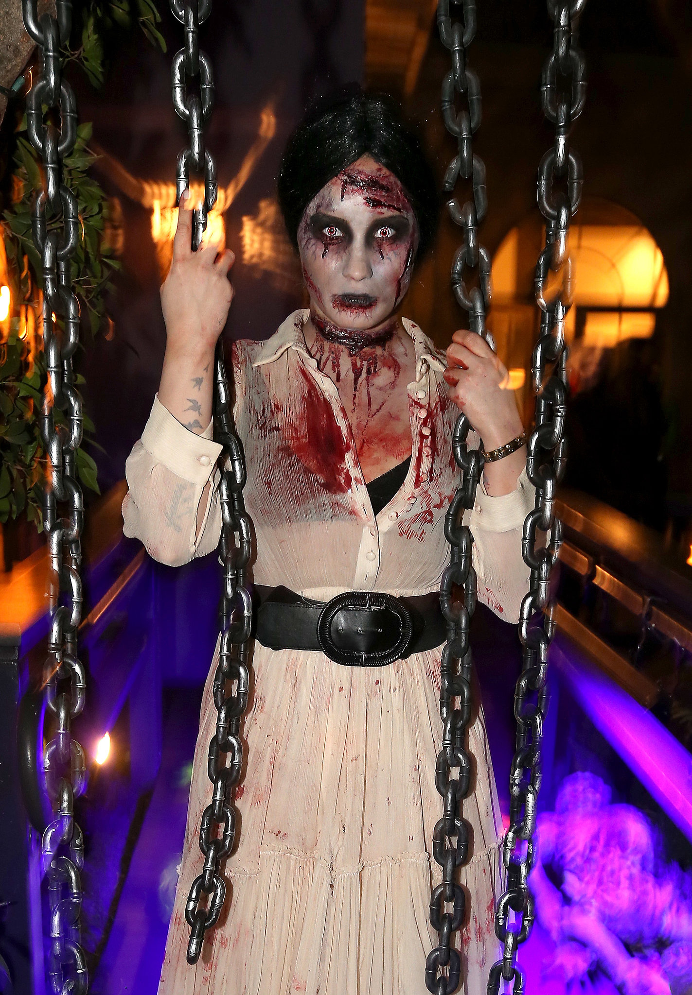 Demi Lovato looked terrifying in the best way at her LA Halloween party.