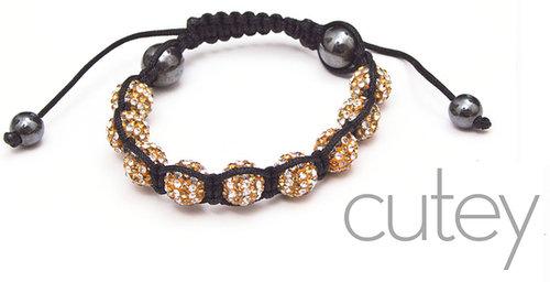 Gold on White Shamballa Bracelet