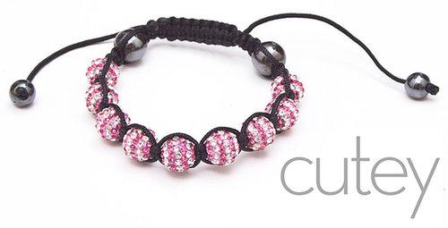 Pink on White Shamballa Bracelet