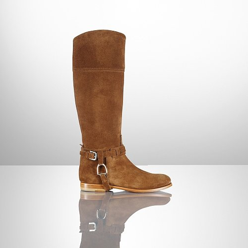 Ralph Lauren Sage Calf Suede Riding Boot