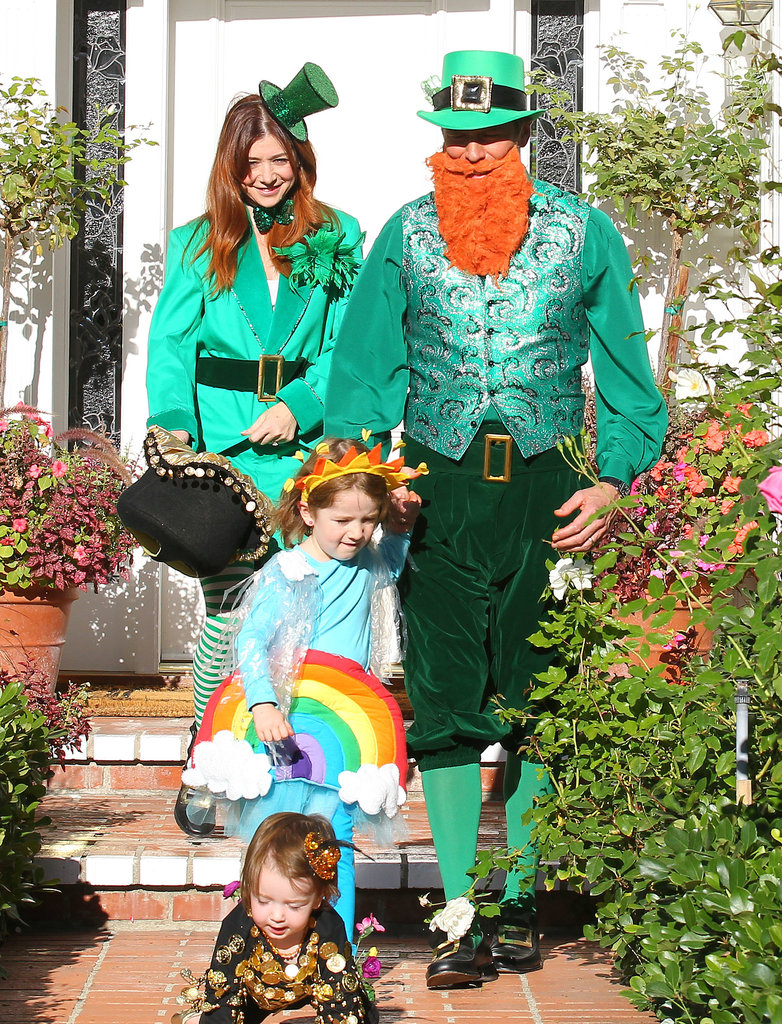 Alyson Hannigan and her family went for an Irish theme for trick-or-treating in Brentwood.