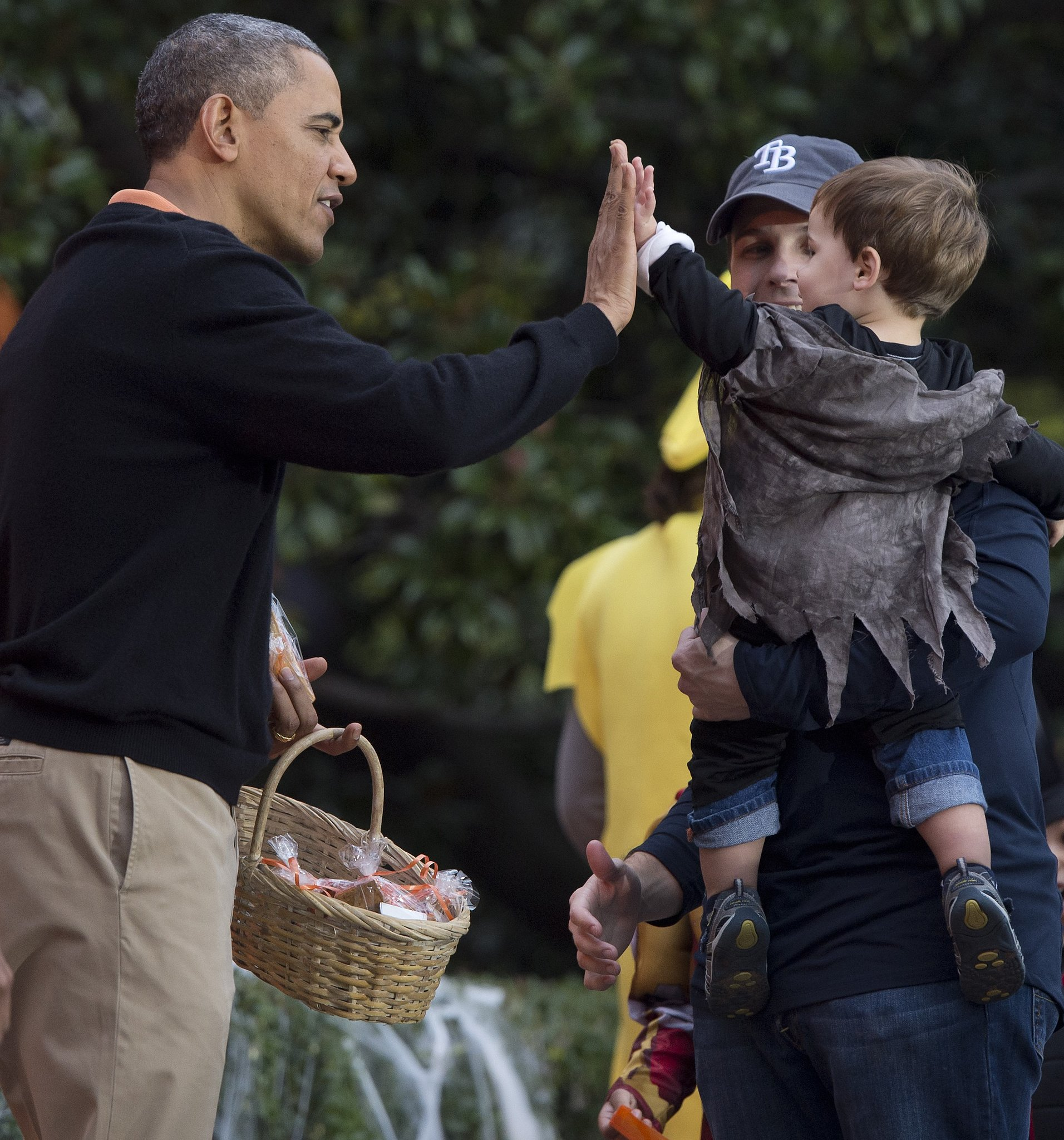 Along with the candy, Mr. President also gave out high fives.