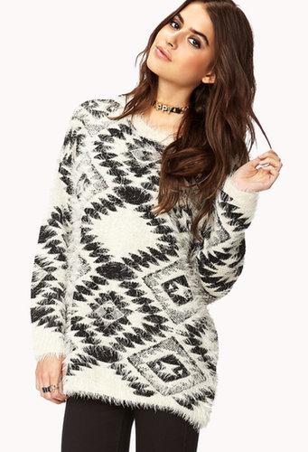FOREVER 21 Fuzzy Southwestern Pattern Sweater