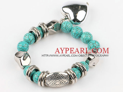 7.2 inches turquoise elastic bangle with heart shaped accessories