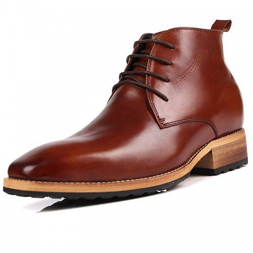 Top grain leather men elevator tall boots add your height 8cm / 3.15inches British style business boots - Topoutshoes.com