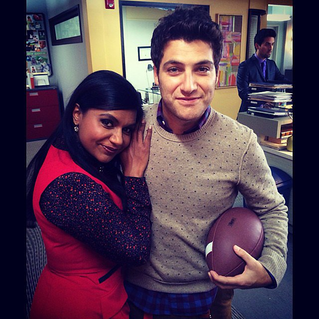 Mindy Kaling cuddled with Adam Pally on the set of The Mindy Project. Source: Instagram user mindykaling