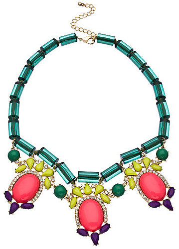 Blu Bijoux Green and Multicolor Crystals Deco Bib Necklace