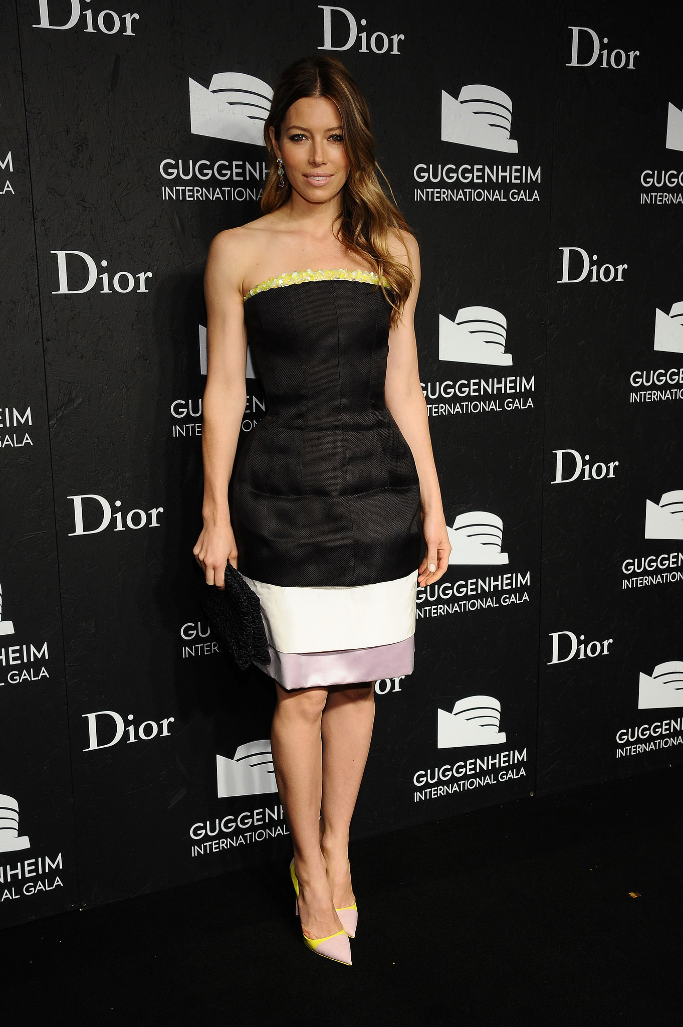 Jessica Biel hit the red carpet for the Dior-hosted Guggenheim International Gala.