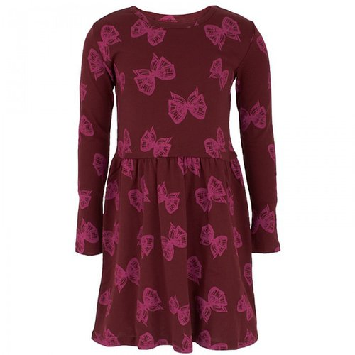 Livly Burgundy Bow Print Dress