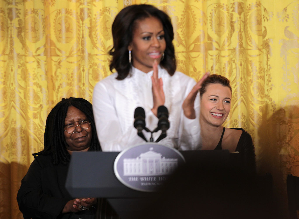 Michelle Obama took the podium to talk to students.