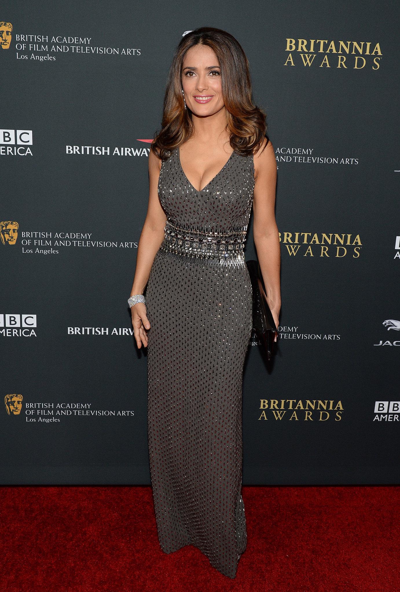 Salma Hayek attended the BAFTA LA Jaguar Britannia Awards in LA.