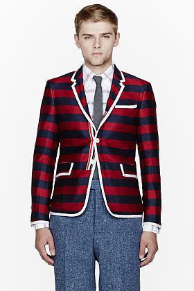 THOM BROWNE Navy striped Silk-Cashmere Blazer