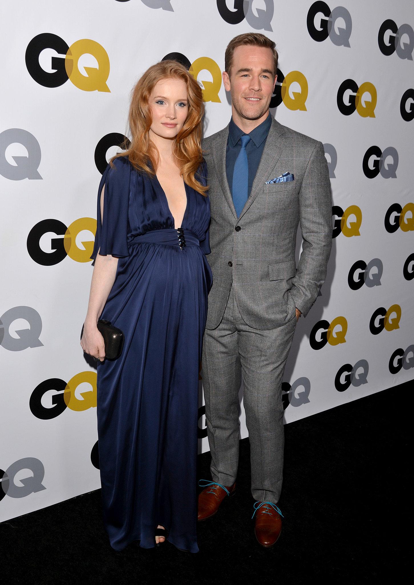 James Van Der Beek posed with his pregnant wife, Kimberly Brook.