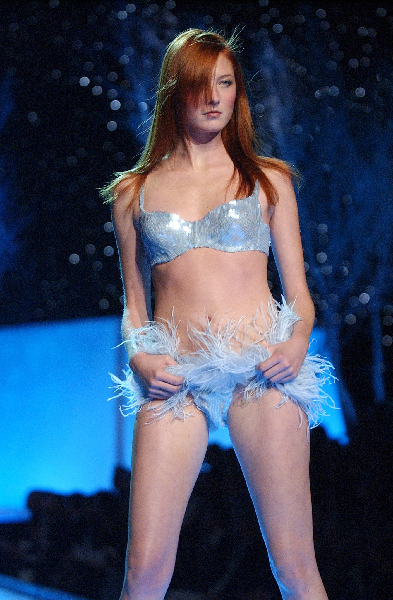 Maggie Rizer wore an ice-blue lingerie look in 2001.